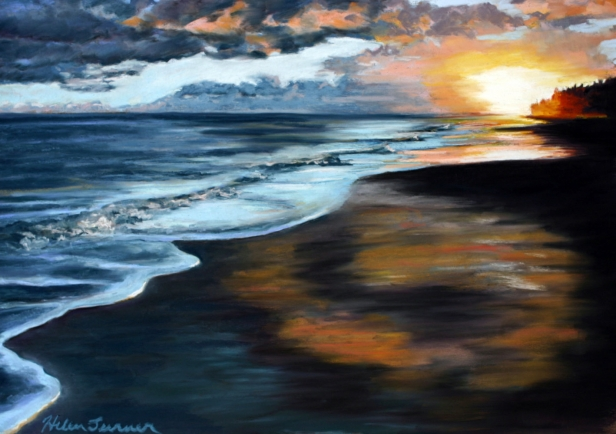 Blacksand Sunset 3, pastel artwork by Kauai artist Helen Turner