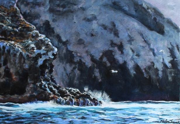 Cruising the Cliffs, pastel artwork by Kauai artist Helen Turner