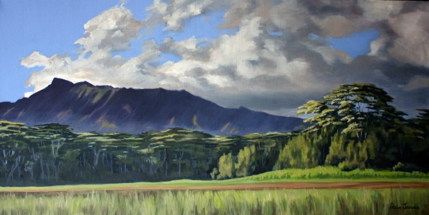 Edge of the Reservoir in oil, pastel artwork by Kauai artist Helen Turner