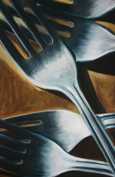 Fork U2, pastel artwork by Kauai artist Helen Turner