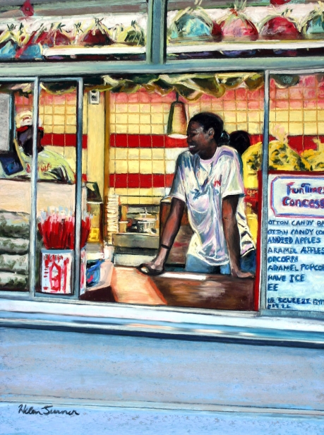 Funtimes Concession Stand, pastel artwork by Kauai artist Helen Turner