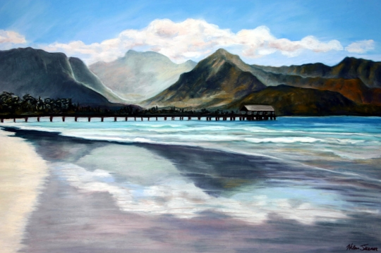 Hanalei Reflections, pastel artwork by Kauai artist Helen Turner