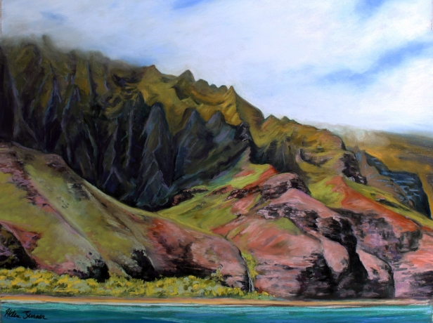 Kalalau Valley, pastel artwork by Kauai artist Helen Turner