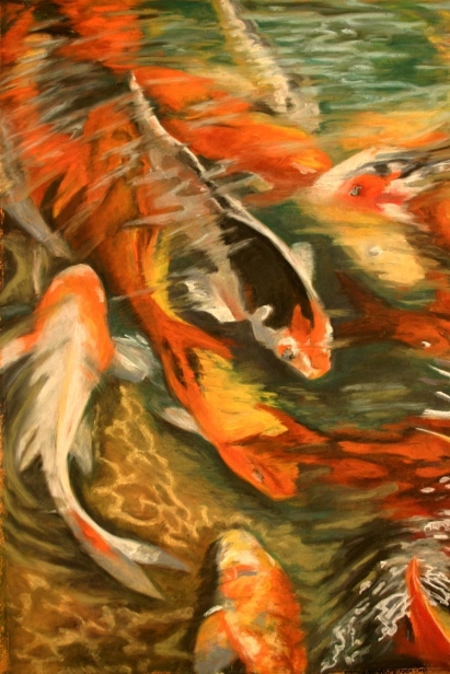 Koi feeding painting by helen turner kauai artist for Koi feeding