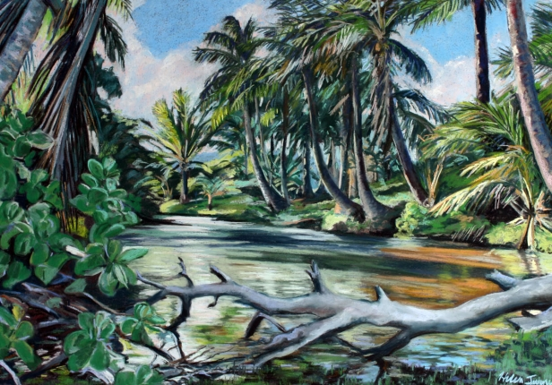Lagoon, pastel artwork by Kauai artist Helen Turner