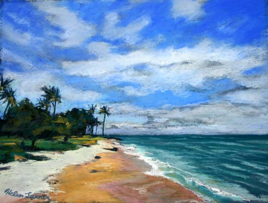 Library Beach, pastel artwork by Kauai artist Helen Turner