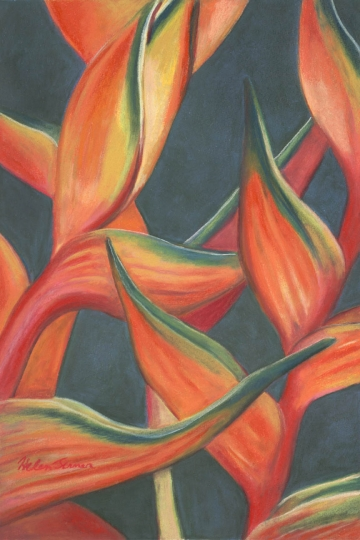 Mothers Day Heliconia, pastel artwork by Kauai artist Helen Turner