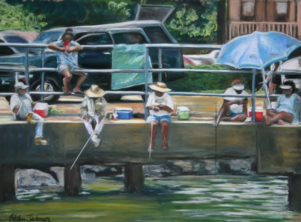 Oama Fishing in Kapaa, pastel artwork by Kauai artist Helen Turner