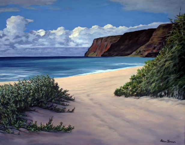Polihale Days, pastel painting by Kauai artist Helen Turner