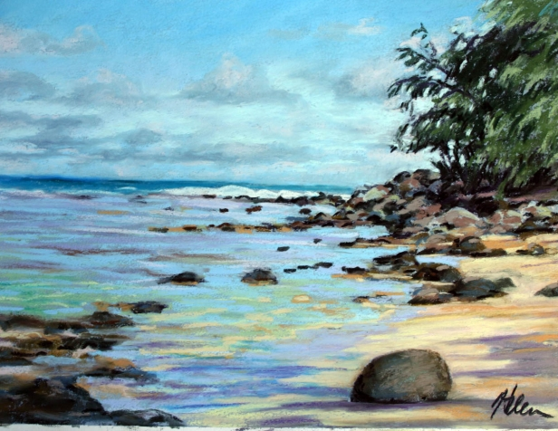 Secret Spot, pastel artwork by Kauai artist Helen Turner