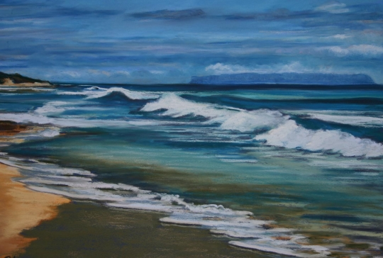 Shorebreak and Niihau, pastel artwork by Kauai artist Helen Turner