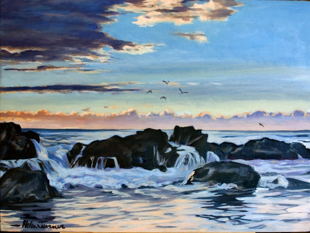 Sunset at Salt Pond 2, pastel artwork by Kauai artist Helen Turner