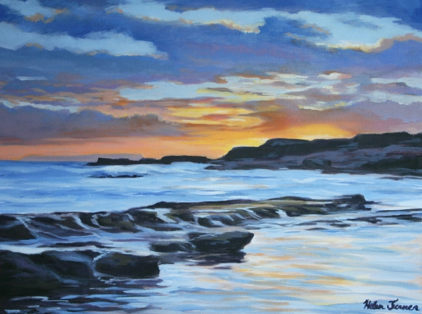 Sunset at Salt Pond, Hawaiian artwork by Helen Turner