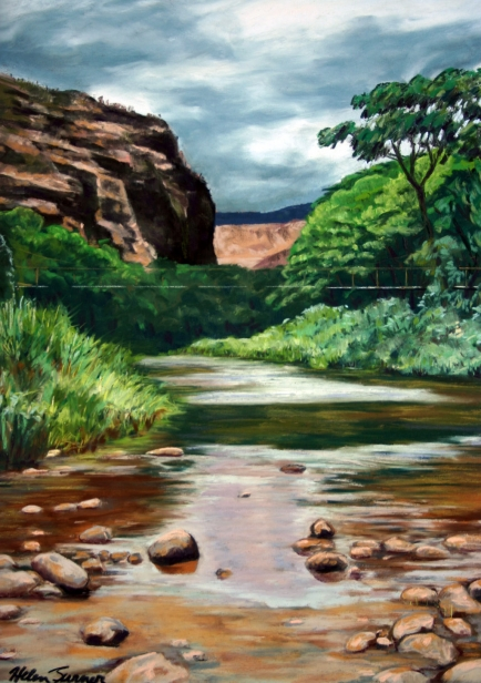 Waimea Swinging Bridge Painting By Helen Turner Kauai