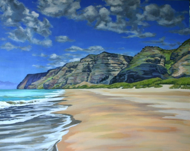 Quot Walking Polihale Quot Painting By Helen Turner Kauai Artist Hawaiian Artwork Pastel And Oil
